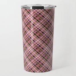 Olive-pink plaid Travel Mug