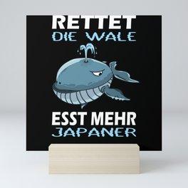 Save The Whales Eat More Japanese I Whale Motif Mini Art Print