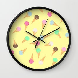 Colorful ice creams pattern Wall Clock