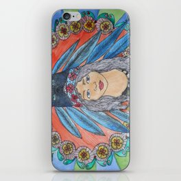 Head dress indian  girl with flowers iPhone Skin