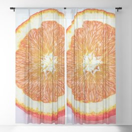 Orange Half And Two Quarters On White Sheer Curtain