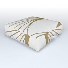 Diamond Series Floral Diamond Gold on White Outdoor Floor Cushion