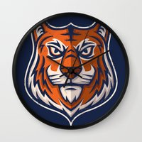 shield Wall Clocks featuring Tiger Shield by WanderingBert / David Creighton-Pester