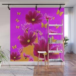 DECORATIVE YELLOW BUTTERFLIES & FUCHSIA PURPLE SPRING FLOWERS GARDEN ART Wall Mural