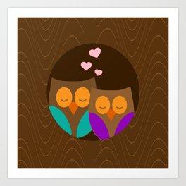 Owls In A Nest Art Print