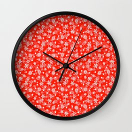 Festive Fiesta Red and White Christmas Holiday Snowflakes Wall Clock