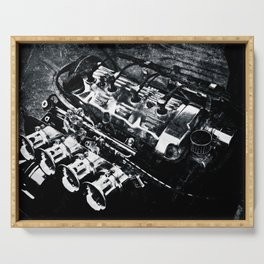 Powerful Car Engine Black White Serving Tray