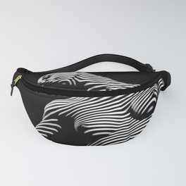 0075-DJA Zebra Seated Nude Woman Yoga Black White Abstract Curves Expressive Line Slim Fit Girl Fanny Pack