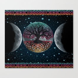 Autumn Esoteric Triple Moon V2 Canvas Print