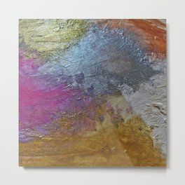 Gold Silver Rose Gold Pink Abstract Painting Metal Print