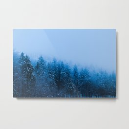 Fog over snow covered forest at lake Bohinj, Slovenia Metal Print
