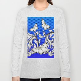 WHITE BUTTERFLIES FLUTTERING WITH BAROQUE FLORAL Long Sleeve T-shirt