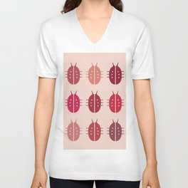 LADYBIRDS ON PINK BACKGROUND Unisex V-Neck