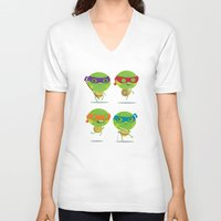 turtles V-neck T-shirts featuring Turtles by Maria Jose Da Luz