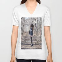 ghost V-neck T-shirts featuring Ghost by Valerie Bee