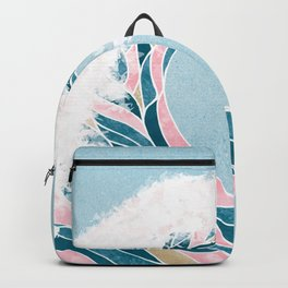 Surf X // Cali Beach Summer Surfing Rip Curl Gold Pink Aqua Abstract Ocean Wave Backpack