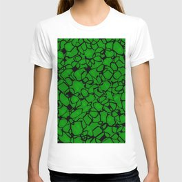Chaotic bubbly emerald thread of spherical molecules on dark glass.  T-shirt