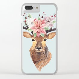 Winter Deer 2 Clear iPhone Case