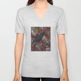 crow on a branch bokeh Unisex V-Neck