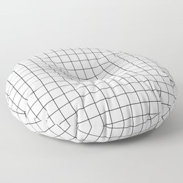 Black and White Thin Grid Graph Floor Pillow