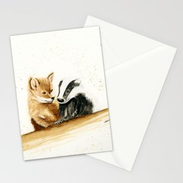 Friends (Fox and Badger) - animal watercolor painting Stationery Cards