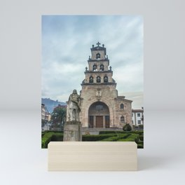 Statue of the King Pelayo and Santa Cruz chapel Mini Art Print