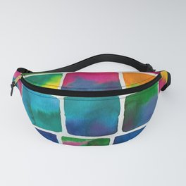 Wibbly Wobbly Wacky Watercolor Square Grid in Rainbows by Imaginarium Arts Fanny Pack
