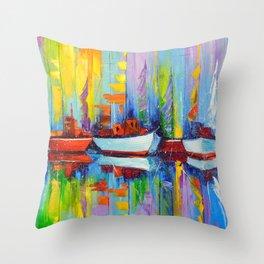 Sailboats berth Throw Pillow