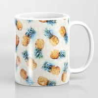crystals Mugs featuring Pineapples + Crystals  by micklyn