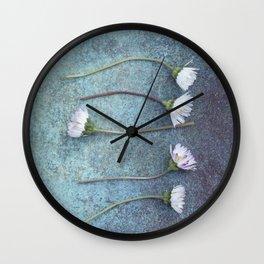 Daisies in a row Wall Clock