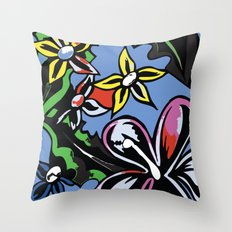 tropical flowers blue Throw Pillow