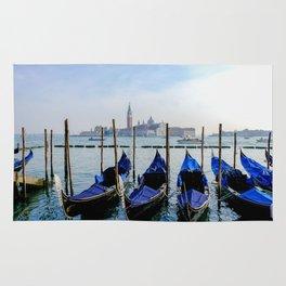 Row of Gondolas Venice Italy Rug