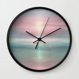 """Pink sky over blue sea Sunset"" Wall Clock"