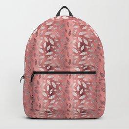 Luxury Rose Gold Leaf Pattern Backpack