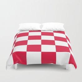 Large Checkered - White and Crimson Red Duvet Cover