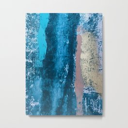 A river runs through it: a minimal, abstract mixed media piece in blue and gold by Alyssa Hamilton Metal Print