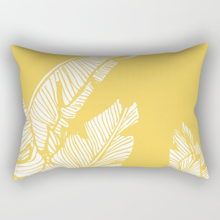 Banana Leaves on Yellow #society6 #decor #buyart Rectangular Pillow