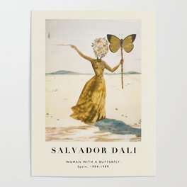Vintage poster-Salvador Dali-Woman with a butterfly.  Poster