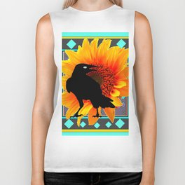 WESTERN CROW SUNFLOWER TURQUOISE-GREY  ART Biker Tank