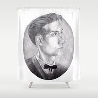 alex turner Shower Curtains featuring Alex Turner Drawing by annelise johnson