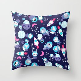 Arctic Astronauts Animals In Space Purple Blue Pattern Throw Pillow