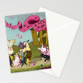 Cute animals parade, inspired by Orwell's Animal Farm but sweet Stationery Cards