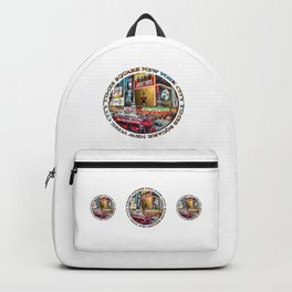 Times Square New York City (badge emblem on white) Backpack