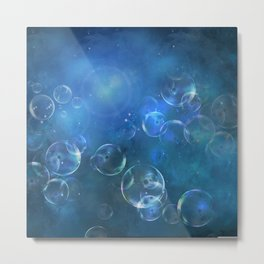 floating bubbles blue watercolor space background Metal Print