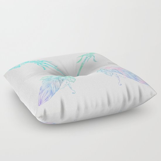 Light Pink Floor Pillows : Arrows Blue Green Pink Vintage Cream Floor Pillow by Nature Magick Society6