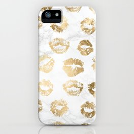 Fashion Lips Gold Lipstick on Marble iPhone Case