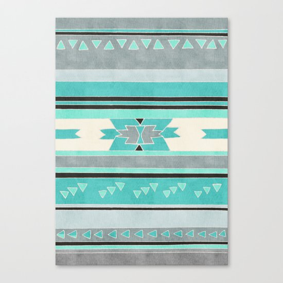 Rustic Tribal Pattern in Teal, Charcoal and Cream Canvas Print