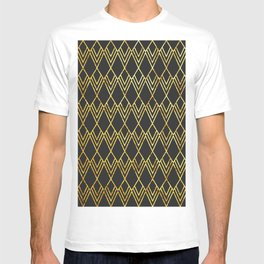 Art Deco Diamond Teardop - Black & Gold T-shirt