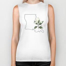 louisiana // watercolor magnolia state flower map Biker Tank