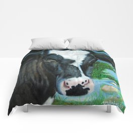 Muddy Fields Cow Painting Comforters